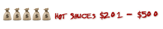 Hot Sauces Priced $201 - $500